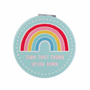 Rainbow compact mirror featuring the slogan Turn That Frown Upside Down