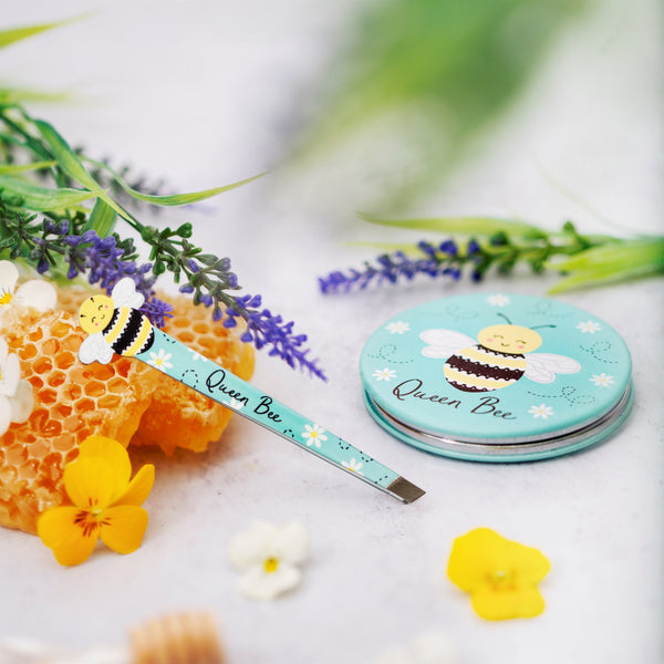 Bee novelty pair tweezers with compact mirror