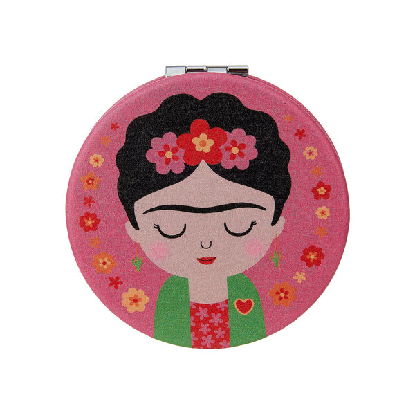 Frida Kahlo inspired pink compact mirror