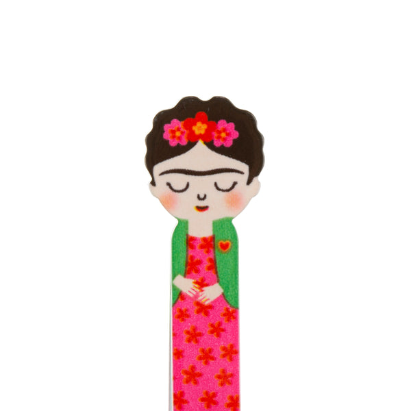 Novelty pink tweezers featuring Frida Kahlo and reflecting the vibrant culture of Mexico.