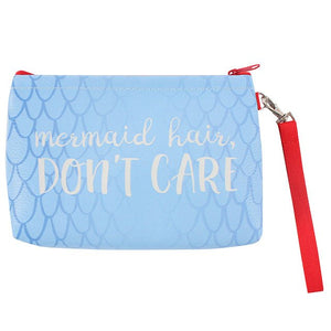 Blue make up bag with mermaid slogan: Mermaid hair, Don't care