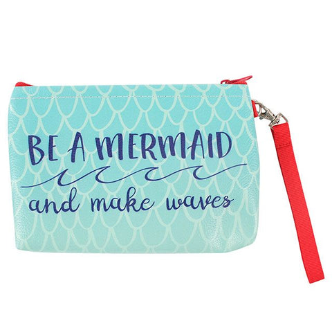 Green make up bag with mermaid slogan: Be a Mermaid and Make Waves.