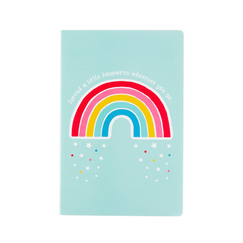 Rainbow notebook with slogan spread a little happiness wherever you go