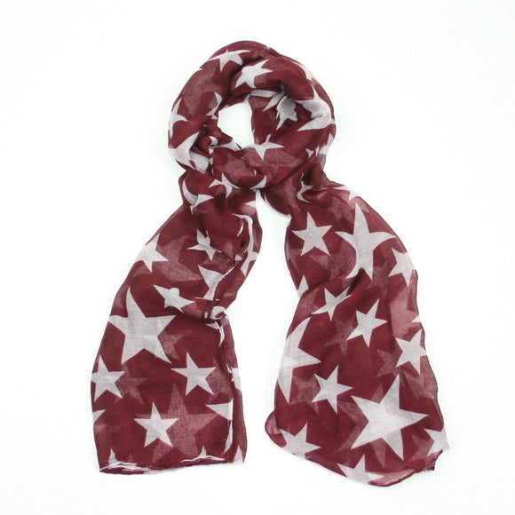 Pretty fashionable scarf with white star print narrow scarf