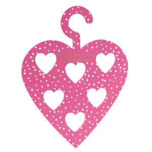 Pink wooden heart scarf hanger featuring the slogan I have too many scarves... said no one ever