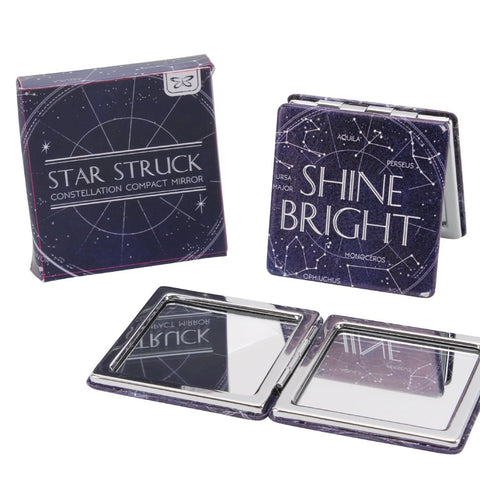 Square compact mirror with constellation star design and the slogan  Shine Bright