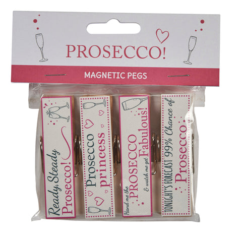 Set of 4 prosecco magnetic pegs