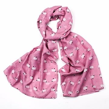 Pink sheep print scarf, finished with a rolled edge.