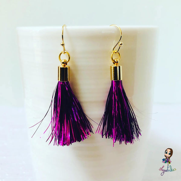 Cerise Pink Tinsel Tassel Drop Earrings