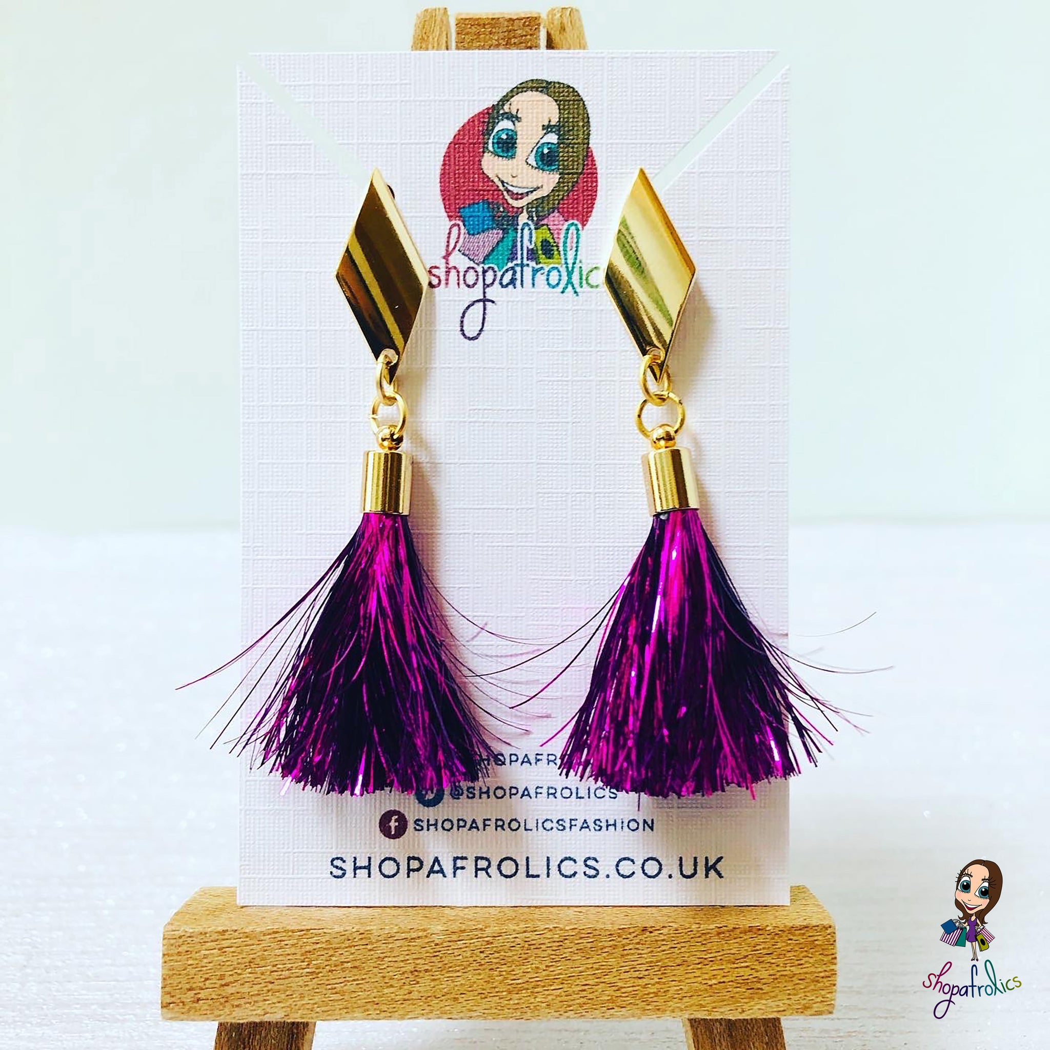 Handmade Pink Tinsel Tassel & Gold Rhombus Earrings