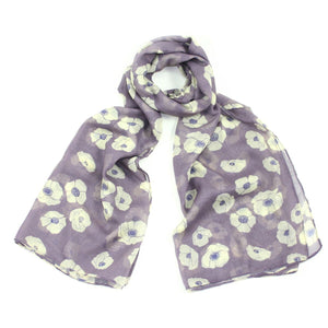Pretty purple adenuim floral printed scarf.