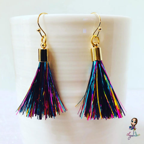 Rainbow and gold tassel earrings