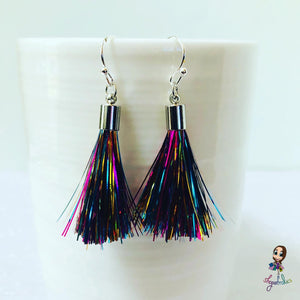Rainbow and silver tassel earrings