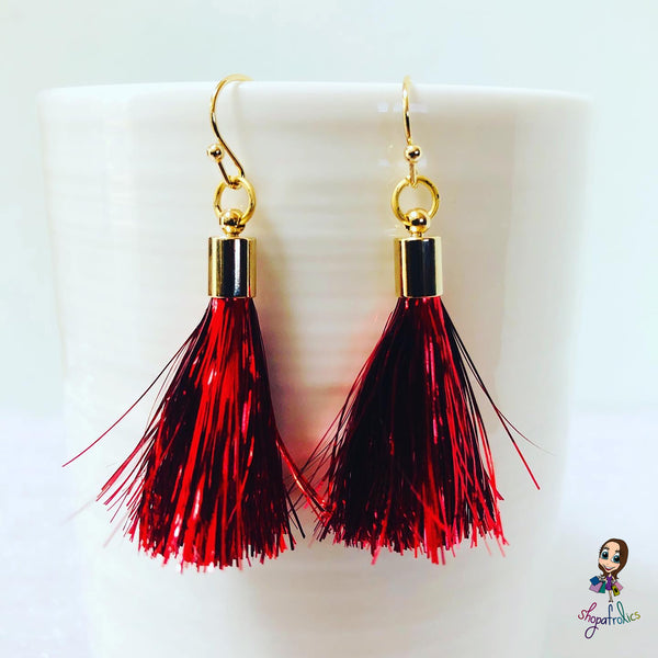 Red Tinsel Tassel Drop Earrings