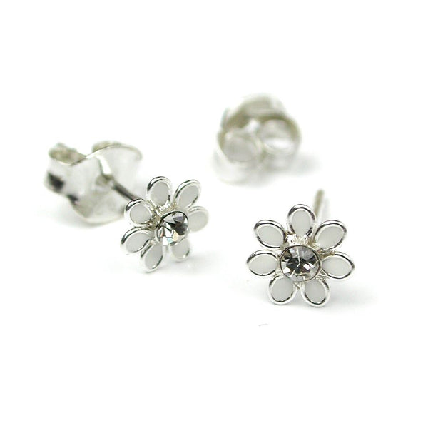 Dainty Sterling Silver Flower Earrings - Choice of Colours