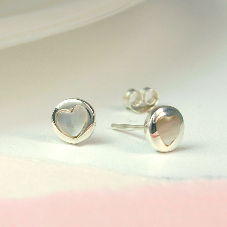 Round sterling silver ear studs with pearl heart insert