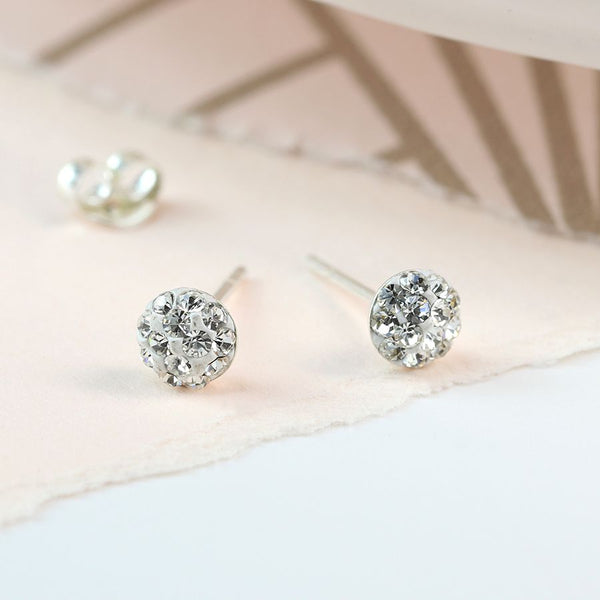 Clear round shamballa sterling silver stud earrings