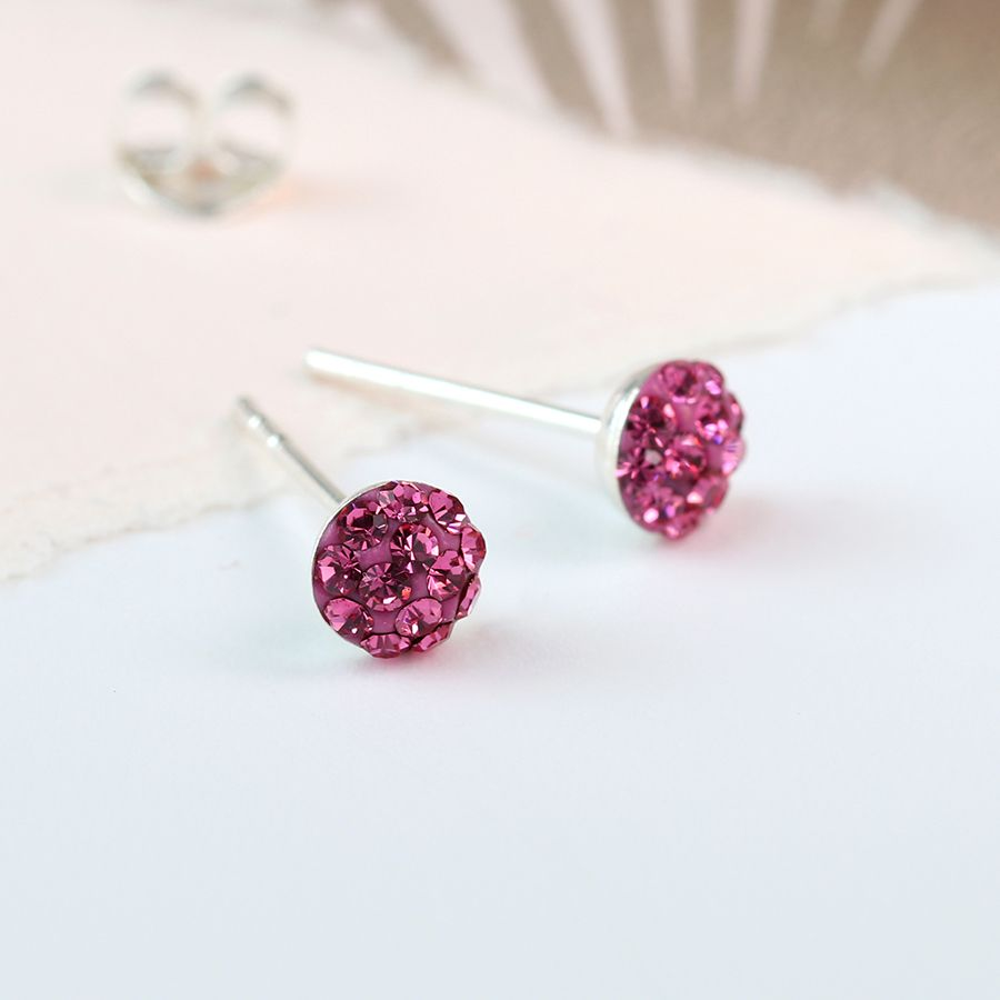 Rose baby pink round shamballa sterling silver stud earrings