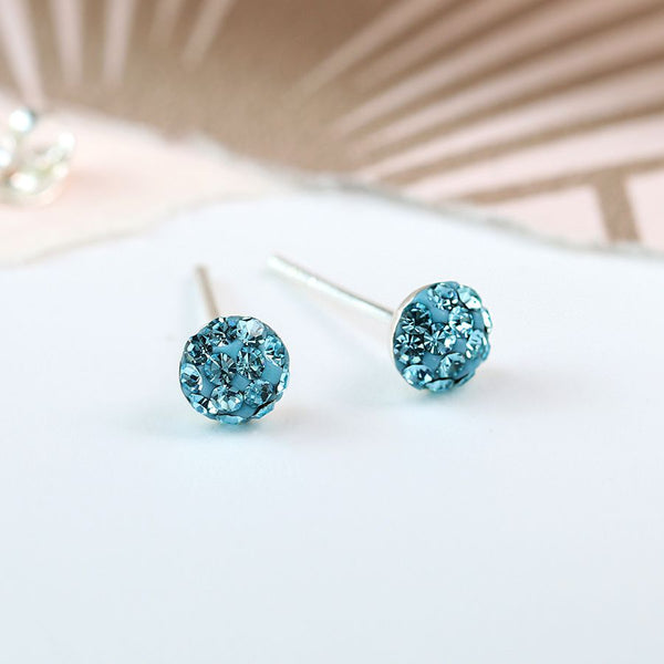 Aquamarine blue round shamballa sterling silver stud earrings