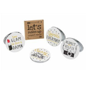 White fabulous let's make up compact mirrors with choice of glam, sassy, selfie or sparkle slogan