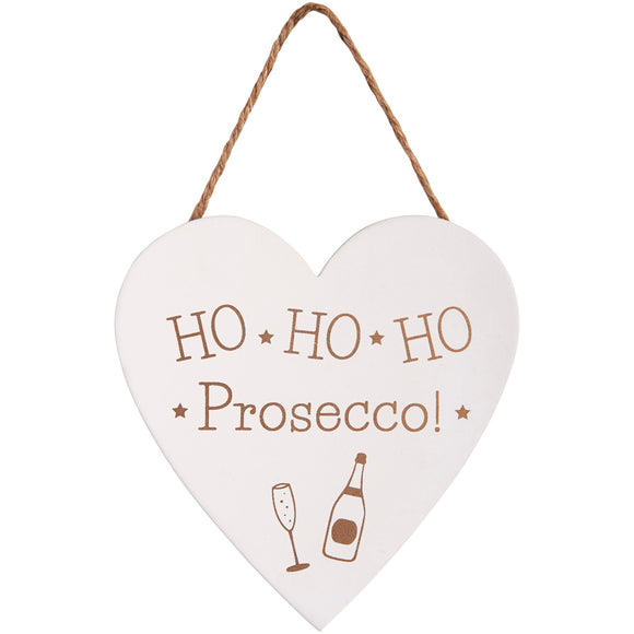 Wooden sign with gold prosecco motif and slogan: Ho Ho Ho Prosecco