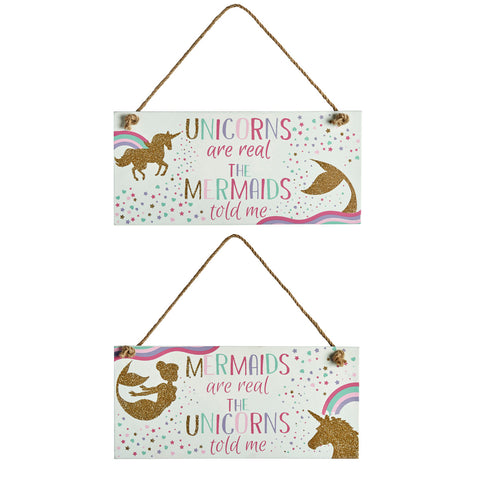 Wooden sign featuring gold glitter unicorn and mermaid and a rainbow font slogan: Unicorns are Real, The Mermaids Told Me  or Mermaids are Real, The Unicorns Told Me