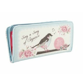 Pretty vintage style print purse featuring a a bird and the slogan Sing a Song of Sixpence. Ditsy floral print on the reverse.