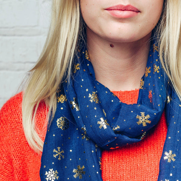 Gorgeous blue scarf with gold foil snowflake detail