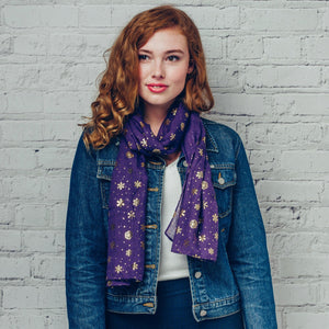 Gorgeous purple scarf with gold foil snowflake detail