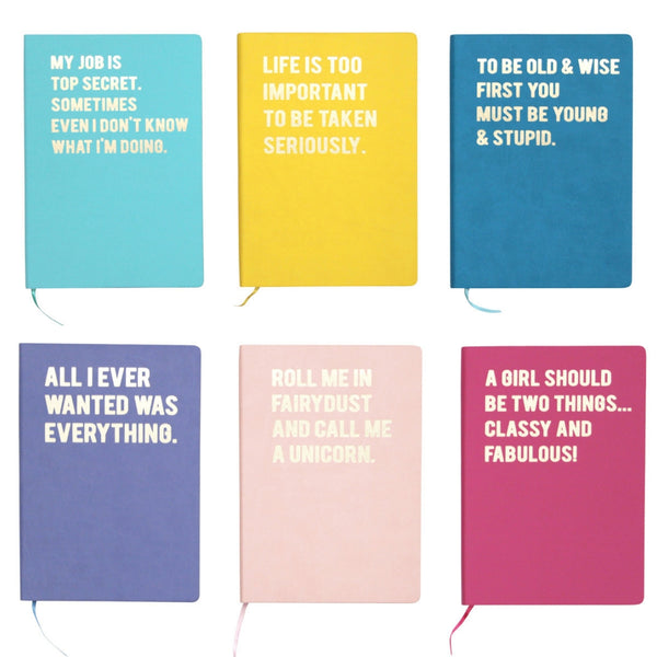 Fun slogan A5 notebook in choice of colours and phrases