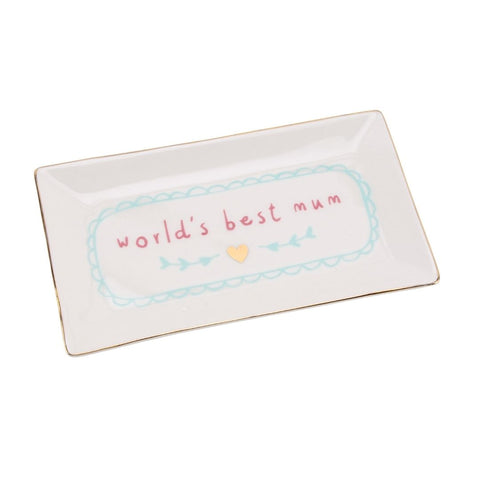White rectangle trinket dish featuring slogan: World's Best Mum