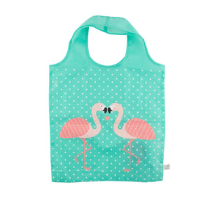 Green foldable bag featuring two pink flamingoes