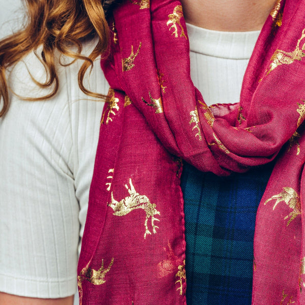 Gorgeous burgundy scarf with gold foil reindeer / stag detail