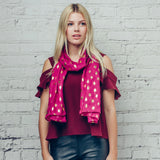 Gorgeous pink scarf with gold foil Christmas tree detail