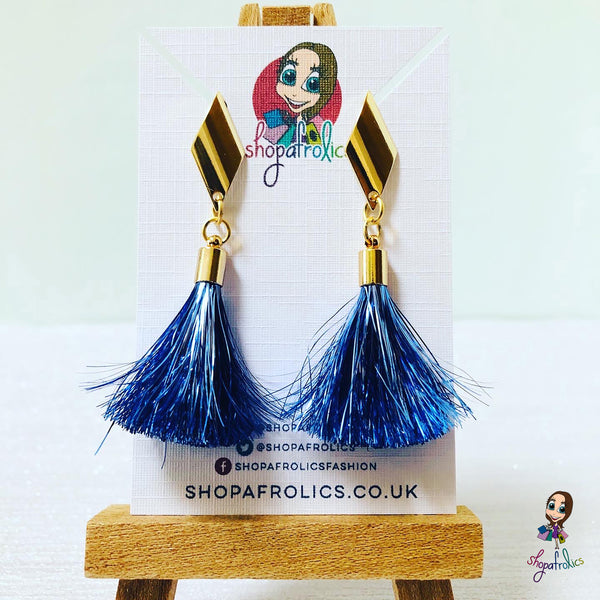 Handmade Blue Tinsel Tassel & Gold Rhombus Earrings