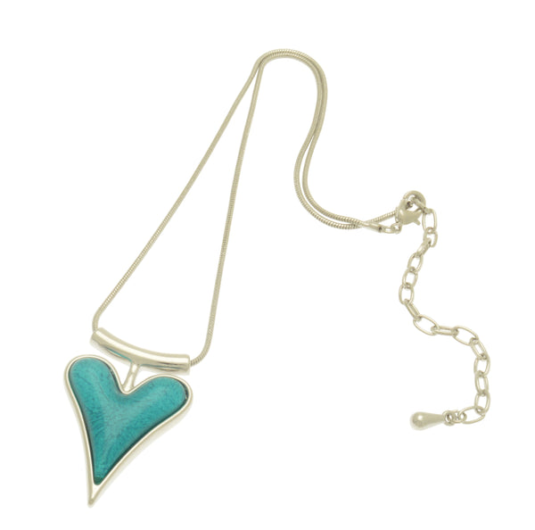 Teal Resin Heart Necklace