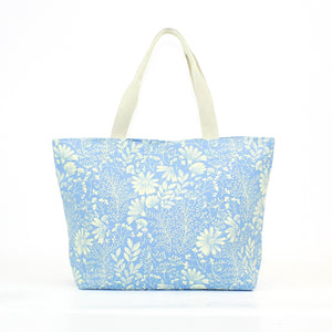 Large canvas bag with pretty floral print, on a solid powder blue coloured background