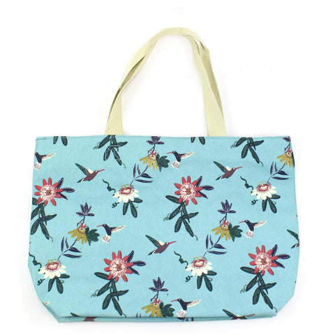 Large matt oil cloth bag with delicate passionflower and colourful hummingbird print