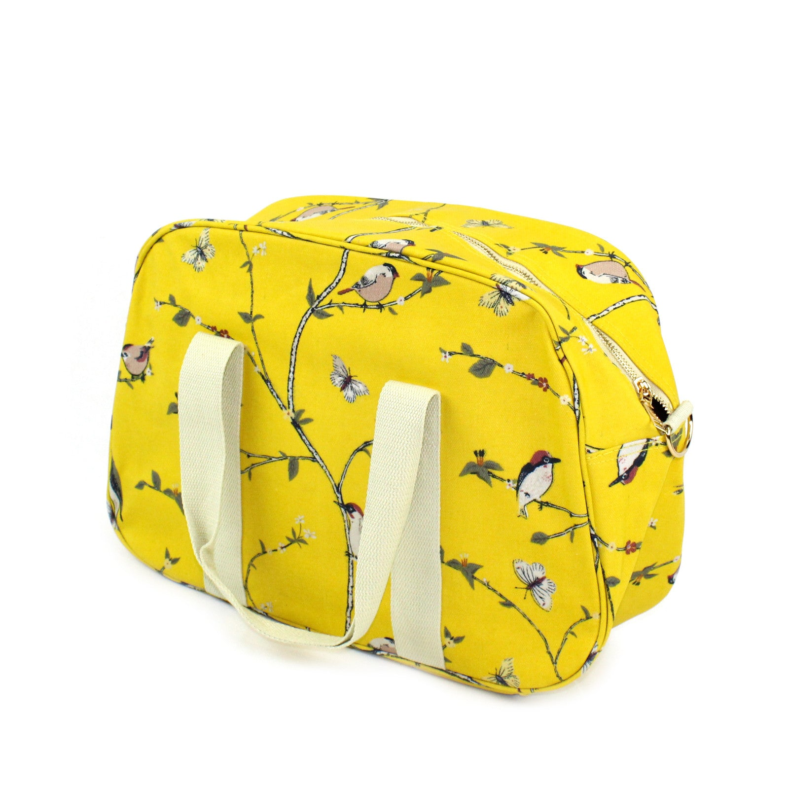 Vibrant woodpecker bird, on a solid yellow background weekend bag