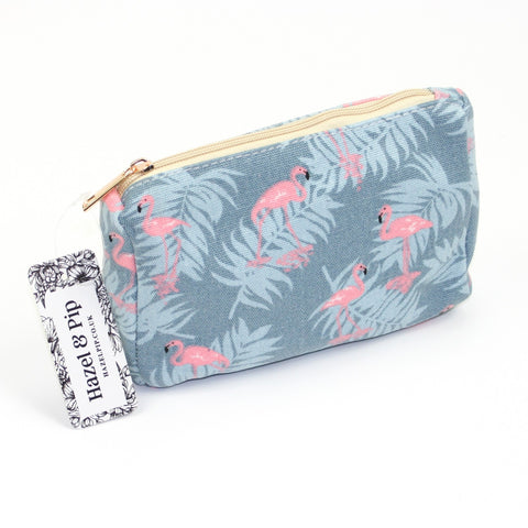 Tropical flamingo print design make up bag.