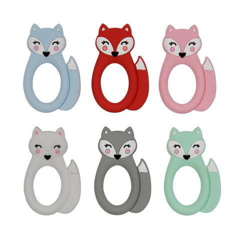 Fox silicone teether in a choice of colours