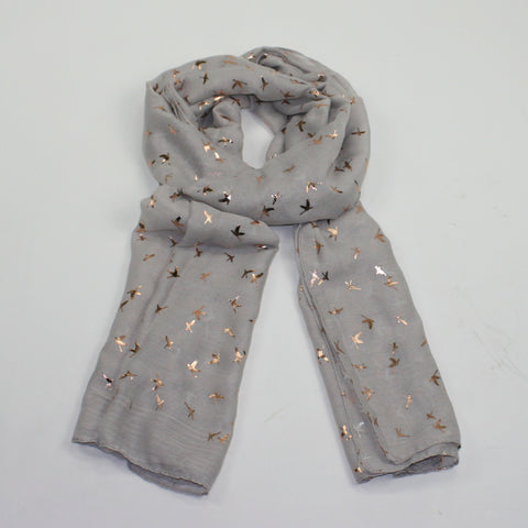 grey scarf finely detailed rose gold flying swan design