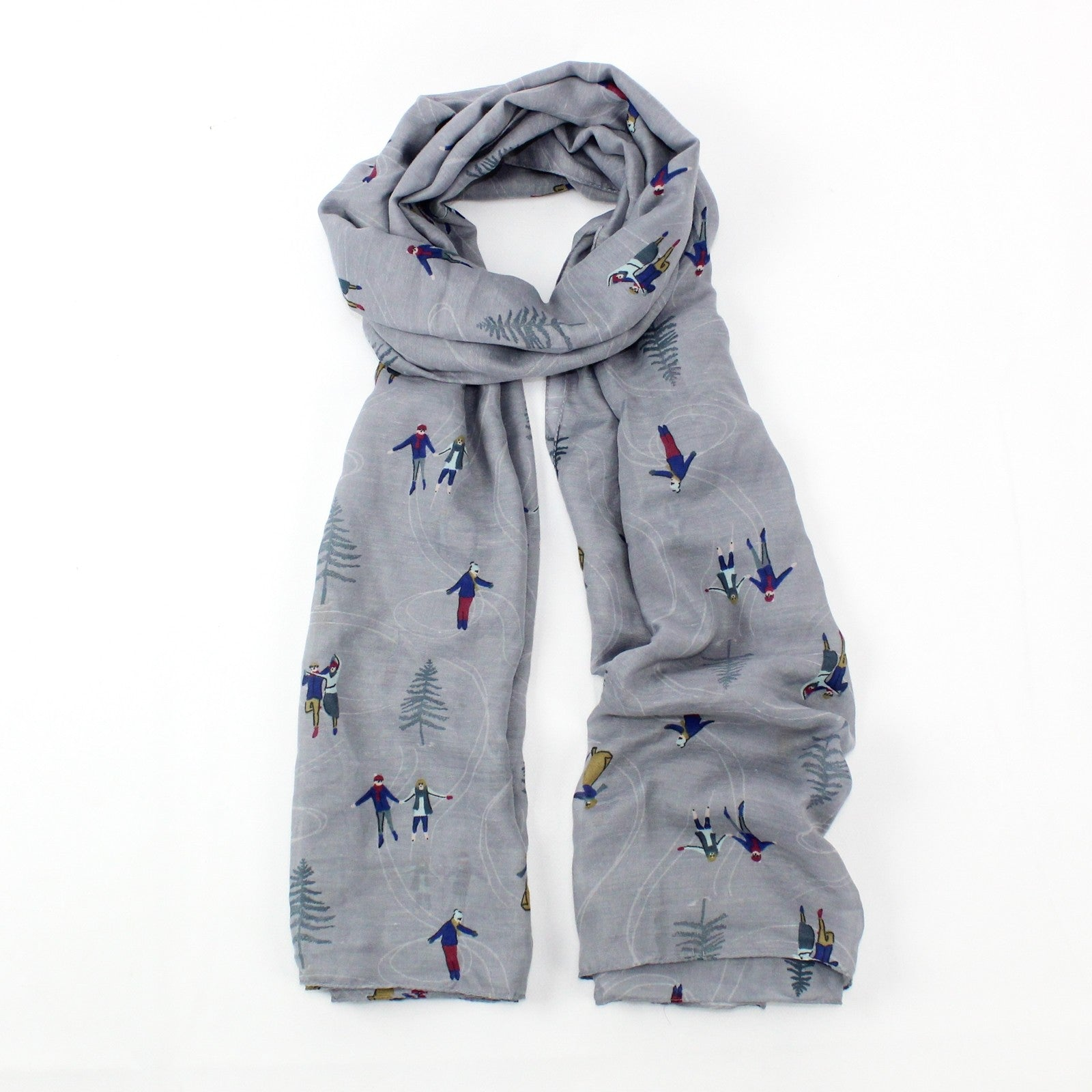 Light grey winter wonderland featuring ice skaters design print, finished with a rolled edge