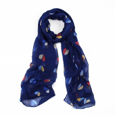 Pretty fashionable scarf in blue with multi-coloured heart print narrow scarf.