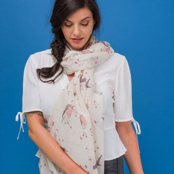 White or Grey Robin Scarf