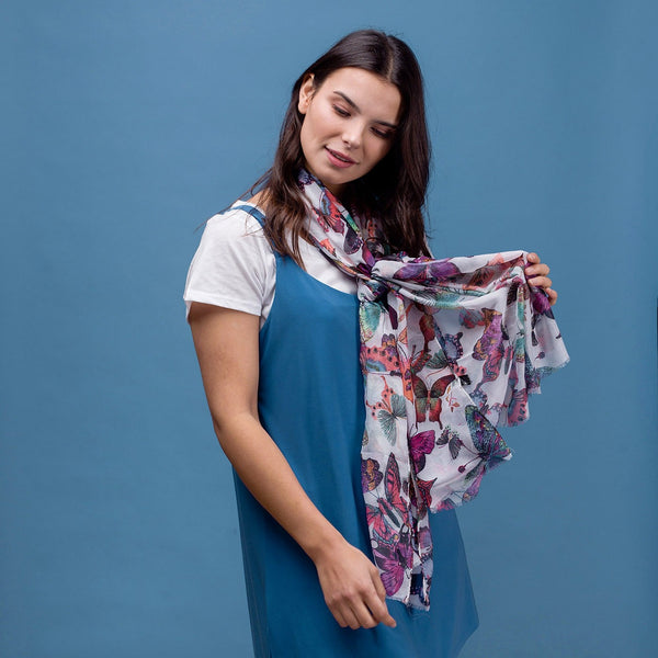 Delicate butterfly print scarf in white with rolled edge.