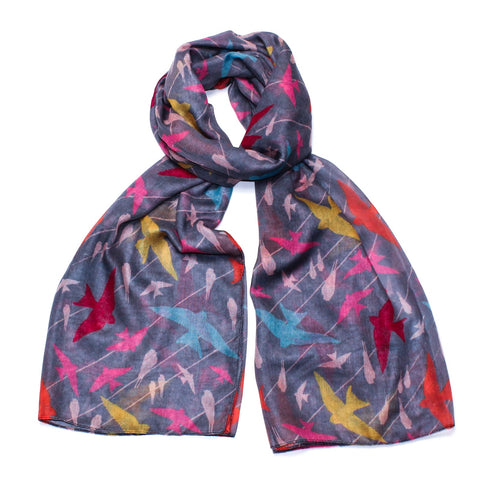 Gorgeous grey scarf covered in multi-colour birds in flight