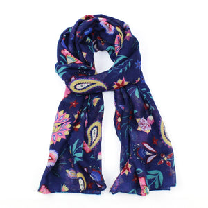 With it's unique boho style this pretty blue scarf with paisley and floral print is perfect for summer festivals and holidays.