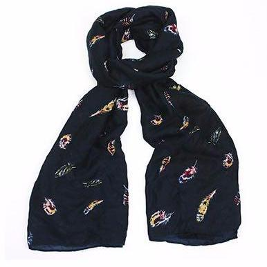 Gorgeous dark blue scarf featuring a colourful floating feather design that is perfect for the colder seasons.