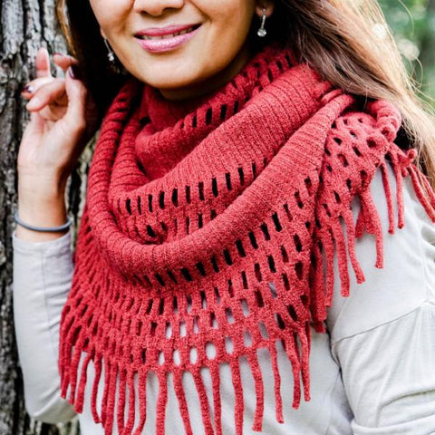 Chenille Knit Fringed Infinity Scarf